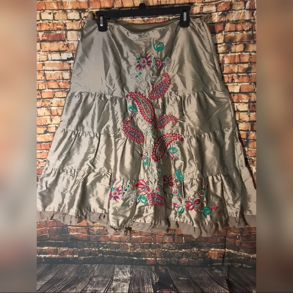Carole Little Dresses & Skirts - Boho Embroidered tiered full skirt Sz 10 NWT